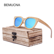 2017 New BEMUCNA Fashion Wood Sunglasses Women Popular Brand Design Polarized Sunglasses Summer HD Polaroid Lens Sun Glasses