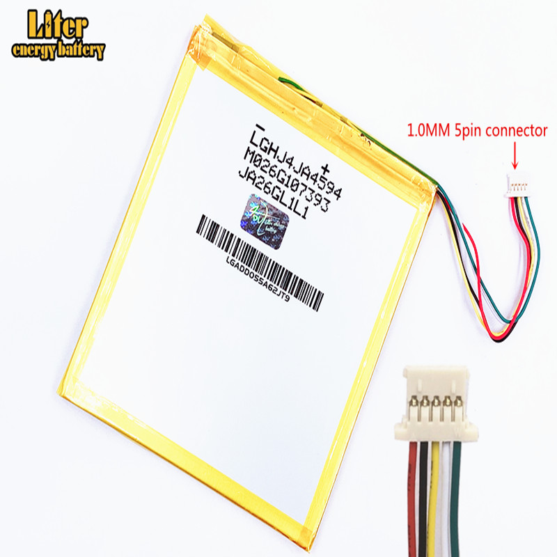 1.0MM 5pin connector <font><b>6000mAH</b></font>,4593105 <font><b>3.7V</b></font>,Tablet PC <font><b>battery</b></font> X80H X80HD X80Plus X80Pro A80HD A80se P85HD P85A T20,VI40, A86 P85 image