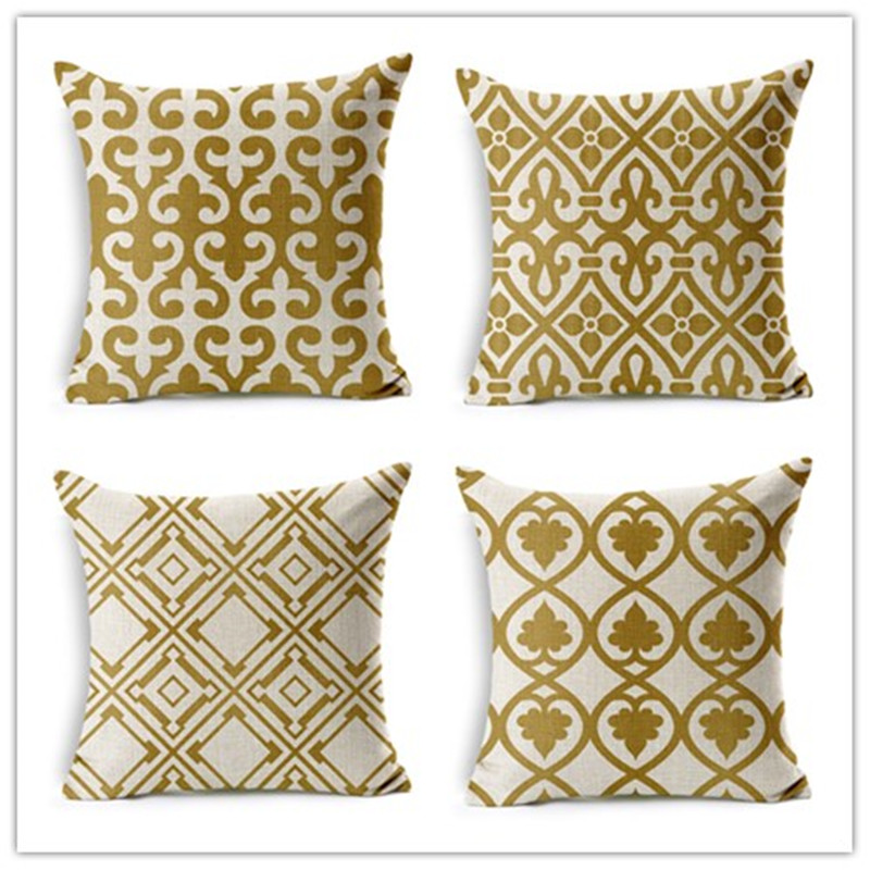 nordic style home decorative pillow retro geometric gold printed throw pillow car home decor fundas linen - Gold Decorative Pillows