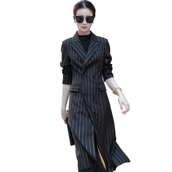 Fashion Ladies blazer 2020 Autumn Winter New Korean High quality Striped Long Outerwear Women blazers Elegant Suit jacket women