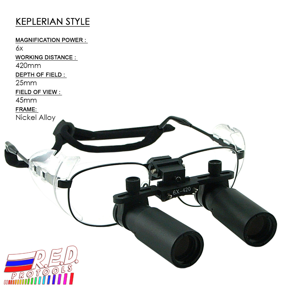 Keplerian Style 6 0x Magnification Binocular Dental Loupes Surgical Medical Dentistry Frame 420mm Working Distance