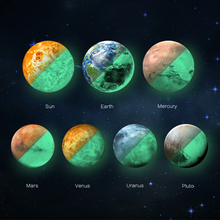 Solar System glowing wall stickers for kids rooms Stars outer space sky wall decal planets Earth Sun Saturn Mars