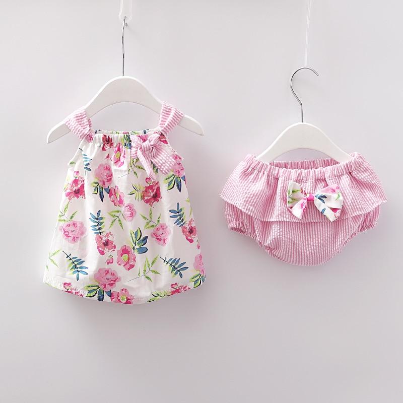 2018 ropa para niñas recién nacidas vestido sin mangas + ropa interior de 2 unids piezas conjunto de ropa linda estampada a rayas conjunto de ropa de verano 0-24 m