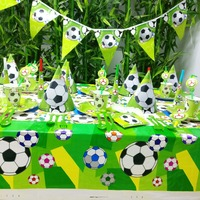 84pcs/set Football Banner Happy Birthday Kids Baby Shower Paper Party Decoration Soccer Theme Supplies Cup Plate Forks Napkin