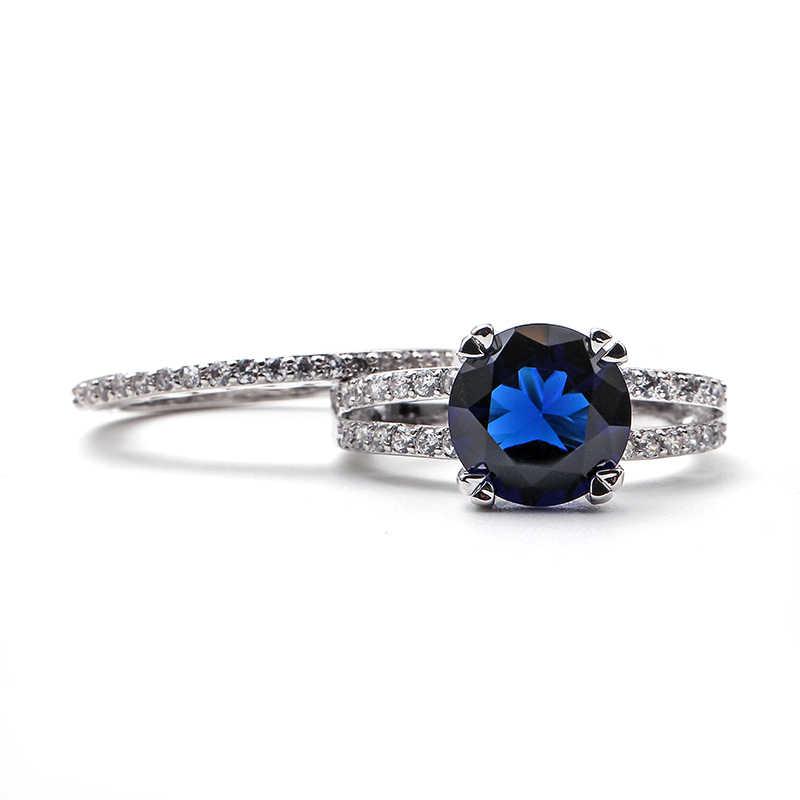 แหวนคริสตัลสีฟ้าวงกลมแหวนผู้หญิงแหวนเงินสี Minimalist ทองแดงการตั้งค่าช่องแฟชั่นอินเทรนด์ joyas