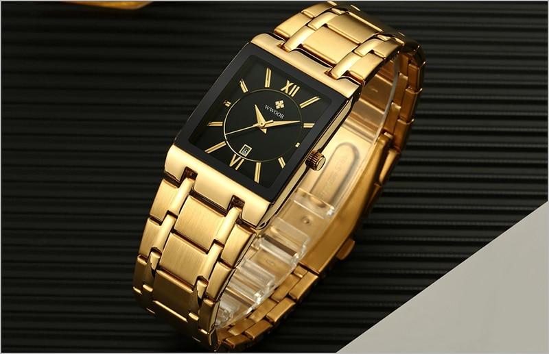 HTB197V8agKG3KVjSZFLq6yMvXXa9 Men Watches Top Brand Luxury WWOOR Gold Black Square Quartz watch men Waterproof Golden Male Wristwatch Men watches