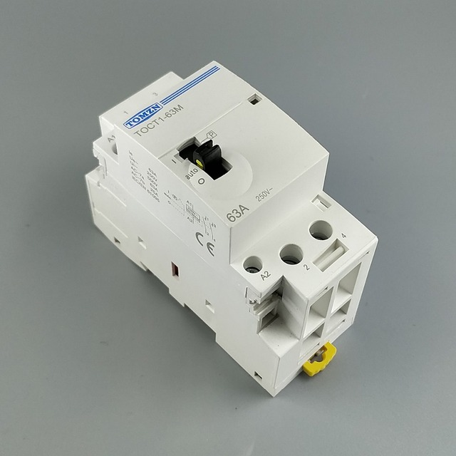 TOCT1 2P 63A 220V/230V 50/60HZ Din rail Household ac Modular contactor with Manual Control Switch 2NO or 1NO 1NC or 2NC
