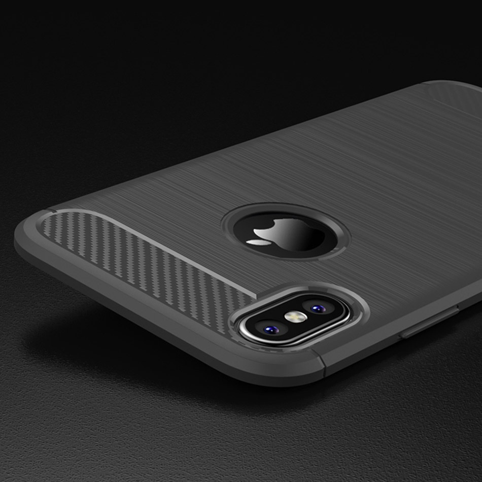 TOMKAS Phone Case Carbon Fiber Cover For iPhone XS Plus X 2018 5.8 6.1 6.5 Inch Soft TPU Silicon Case Protective Back Cover 2018 (22)