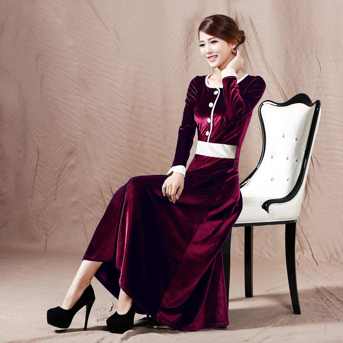 2015 Spring Noble Long Design Slim Waist Expansion Bottom Velvet Long-sleeve O-neck Patchwork Plus Size One-piece Dress Wine red Одежда