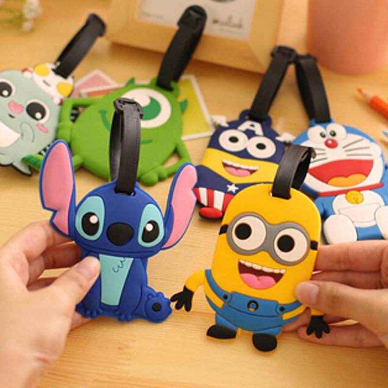 Cute 1pcs/lot Cartoon Silicone Luggage Tag Fashion Keychain Key Ring for Travel Outdoor Bag Supplies Free Shipping