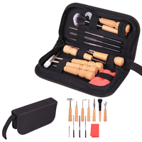 13Pcs/Set Guitar Tools Bag Set Guitar Repair File Kit Nut Files Ruler Turner Gauge Measurement Tool String Winder