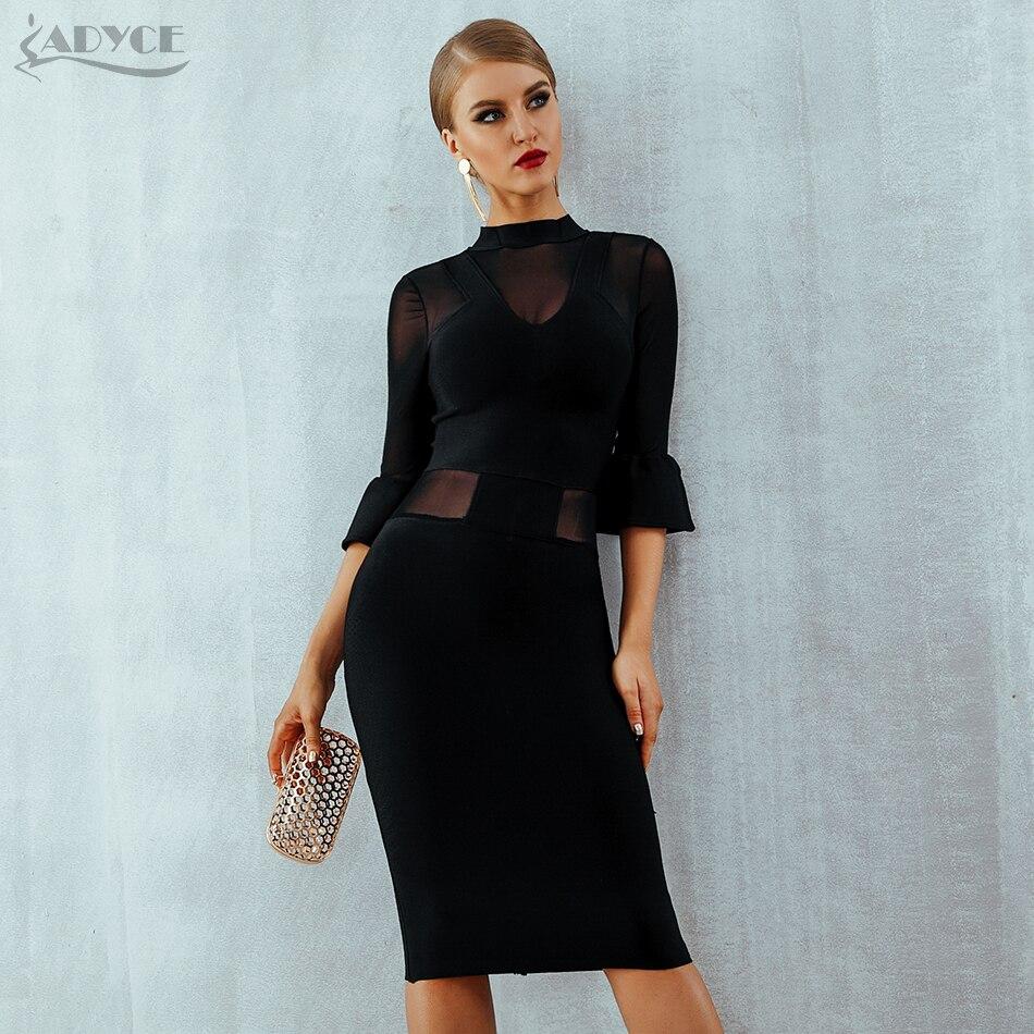 ADYCE แขนตาข่ายคลับชุดชุดราตรีชุดราตรี ใหม่ฤดูใบไม้ร่วงสีดำผ้าพันคอลูกไม้ชุดผู้หญิง เซ็กซี่