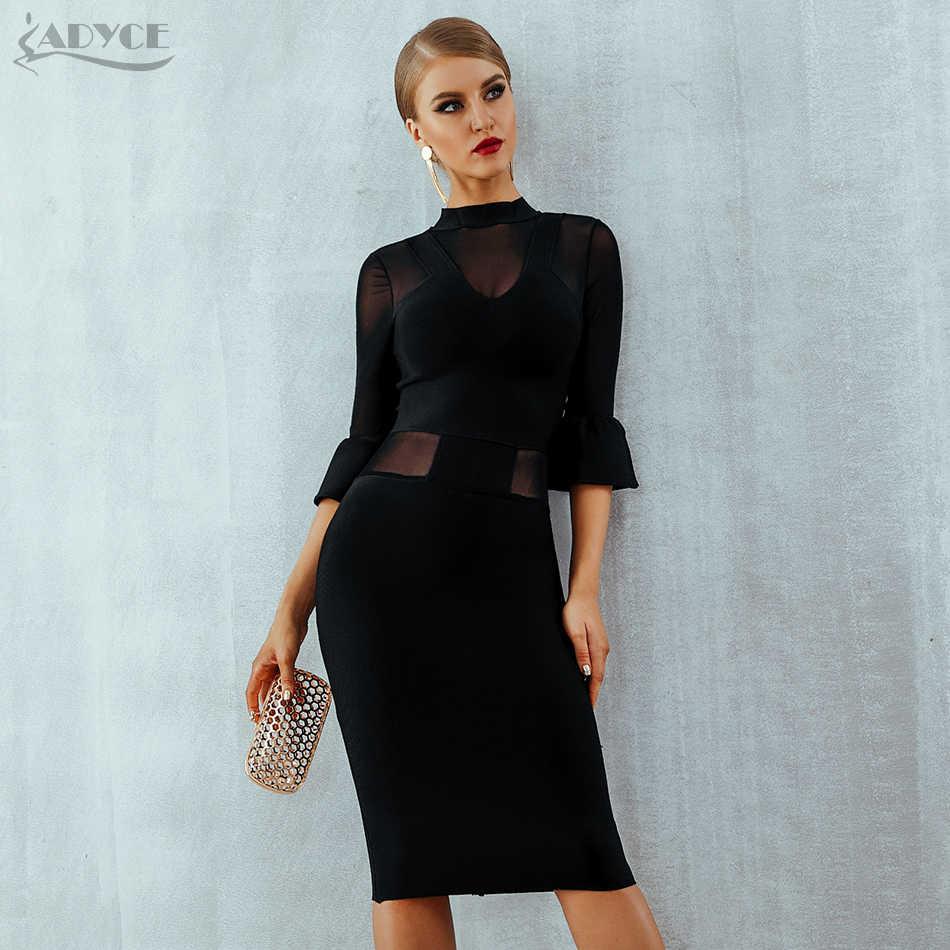 Adyce Новое Осеннее черное кружевное Бандажное платье для женщин Vestidos сексуальное Сетчатое Клубное платье с расклешенными рукавами элегантное вечернее платье в стиле знаменитостей