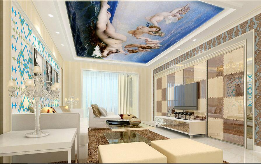 3d room wallpaper custom mural non-woven wall sticker 3 d Sea angels and beauty  ceiling mural photo wallpaper for walls 3d ceiling non woven wallpapr home decoration wallpapers for living room 3d mural wallpaper ceiling customize size