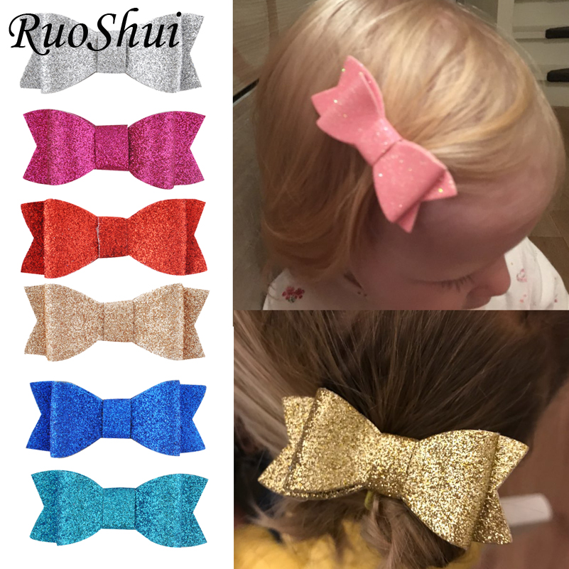 3inch Girl Glitter Bows Clips Infants hairbows Kids Hair Accessories Hairpins