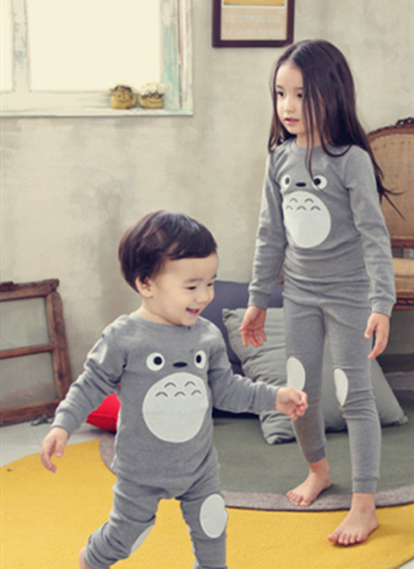 2015 Korea Kids Totoro Tracksuit Set Catoon Pyjamas Boys and Girls Cotton Warm Autumn Toddler Underwear Clothing Set