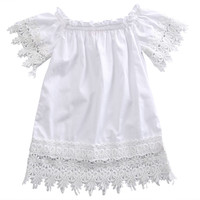 Cute Summer Toddler Kids Baby Girls Clothes Off-shoulder Lace Dress Lace Sleeve Party Gown Formal Princess Dress White Dress