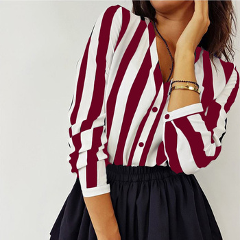 2019 New Blouse Women Casual Striped Top Shirts Blouses Female Loose Blusas Autumn Fall Casual Ladies Office Blouses Top Sexy 4