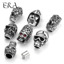 Купить с кэшбэком Titanium Stainless Steel Skull Lion Head Magnetic Clasp Hole 8mm for Leather Cord Bracelet Making DIY Jewelry Charms Accessories