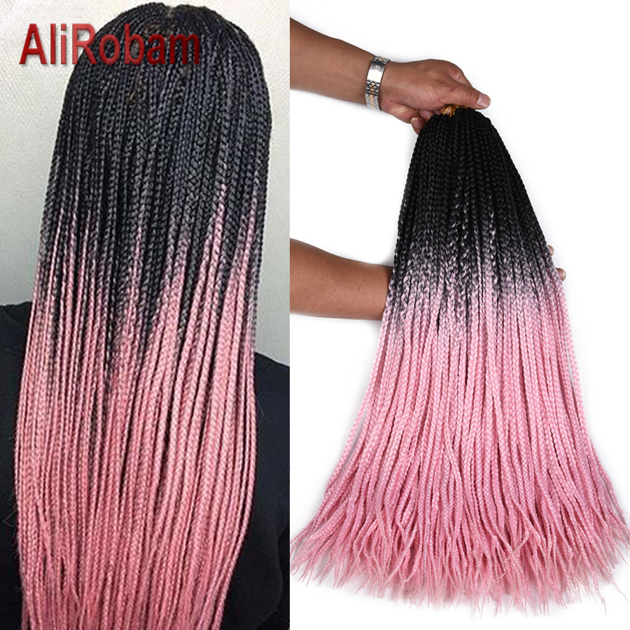 AliRobam Crochet Braids Hair Extensions Pure Or Black Pink/Purple/Grey Ombre Synthetic Box Braiding For African American Women