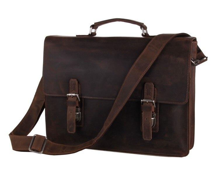 Nesitu High Quality Vintage Real Crazy Horse Leather Cowhide Men Messenger Bags 14 inch Laptop Briefcase Portfolio #M7223