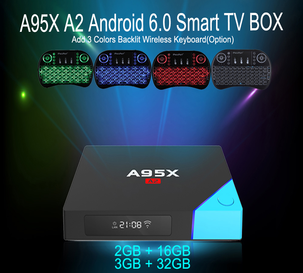 New Arrivals A95X A2 Android TV Box Amlogic S912 Octa Core Android 6.0 4K Smart TV Box Max 3G 32G Dual Band Wifi Media Player