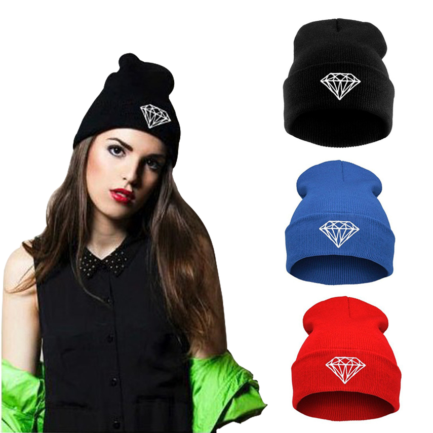 Fashion Diamond Cap Mens Casual Hip-Hop Hats Knitted Wool Skullies Beanie Hat Warm Winter Hat for Women 2016 Unisex Beanies Caps fashion crochet flower hat cap wool knitted hats for women skullies caps for the old lady s women gorros de lana