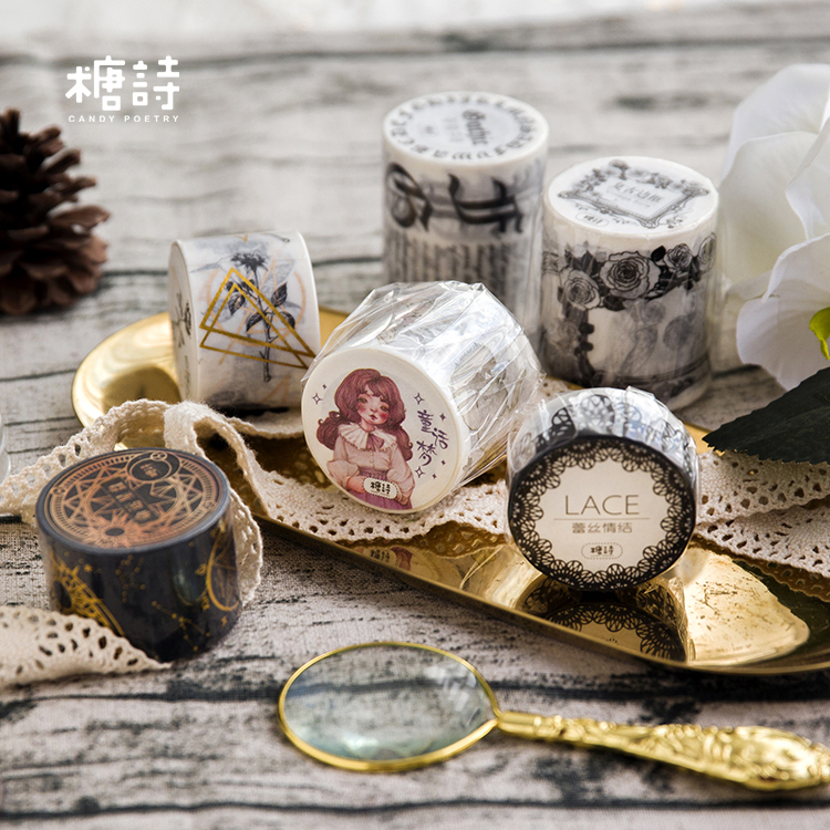 1 pcs DIY Japanese Paper Washi Tapes Black Lace Girls Decorative Adhesive Tapes Masking Tape Stickers Size 7M 1pc black and white grid washi tape japanese paper diy planner masking tape adhesive tapes stickers decorative stationery tapes