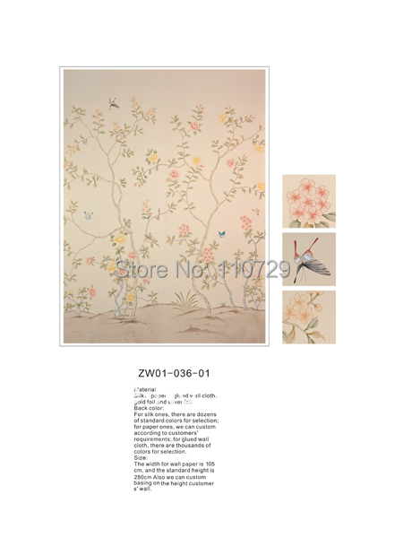 Расписанный вручную шелковый обои дерево с цветами и птицами ручная роспись стены бумажные обои диван/телевизор/спальня backgound - 2