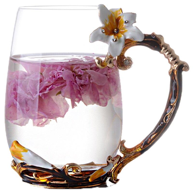 Élégant 330 ml 350 ml couleur émail cristal verre tasse avec poignée de lys verre fleur thé tasse cadeau boîte paquet pour Valentine DEC195
