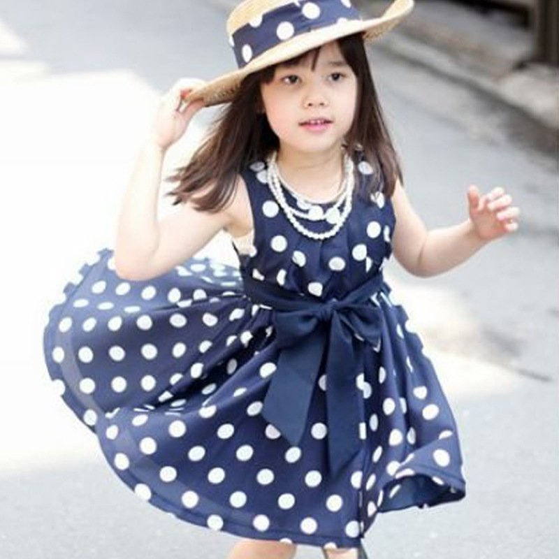 2017 Summer Polka Dot Girls Dress Fashion Sleeveless Kids Dress for Girls 2 3 4 5 6 Year Children Clothing Costume with Sashes