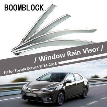 BOOMBLOCK Car Covers Window Visor Sun Rain Wind Deflector Awning Shield ABS For Toyota Corolla 2014 2015 2016 2017 2018