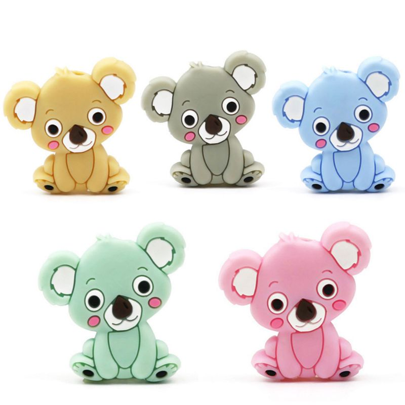 Licone Bead Animal Cute Teether Teething Safe Baby Care DIY Jewelry Necklace Toy