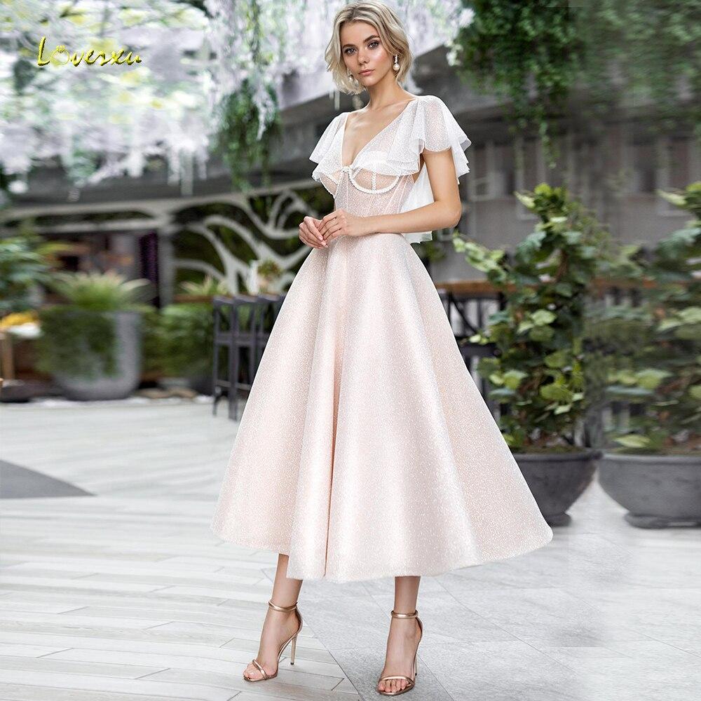 Loverxu Shimmering V-Neck A Line Cocktail Dress Chic Applique Cap Sleeve Backless Tea-Length Party Dresses Ever Pretty Plus Size