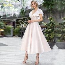 Loverxu pırıltılı v yaka bir çizgi kokteyl elbise şık aplike kap kollu Backless çay boyu parti elbiseler hiç Pretty artı boyutu