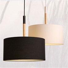 Lámpara sencilla y creativa de estilo nórdico para dormitorio, estudio, restaurante, de una sola cabeza, pantalla de tela de madera, candelabro con personalidad