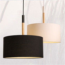 Nordic สไตล์ Modern Creative โคมไฟห้องนอนร้านอาหารเดี่ยวหัวไม้ผ้า Shade โคมระย้าบุคลิกภาพ