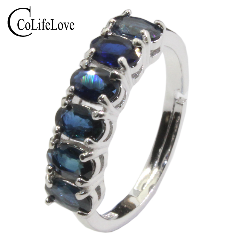 CoLife Jewelry 100% Natural Sapphire Silver Ring 6pcs Dark Blue Sapphire Ring 925 Sterling Sapphire Jewelry Birthday Gift