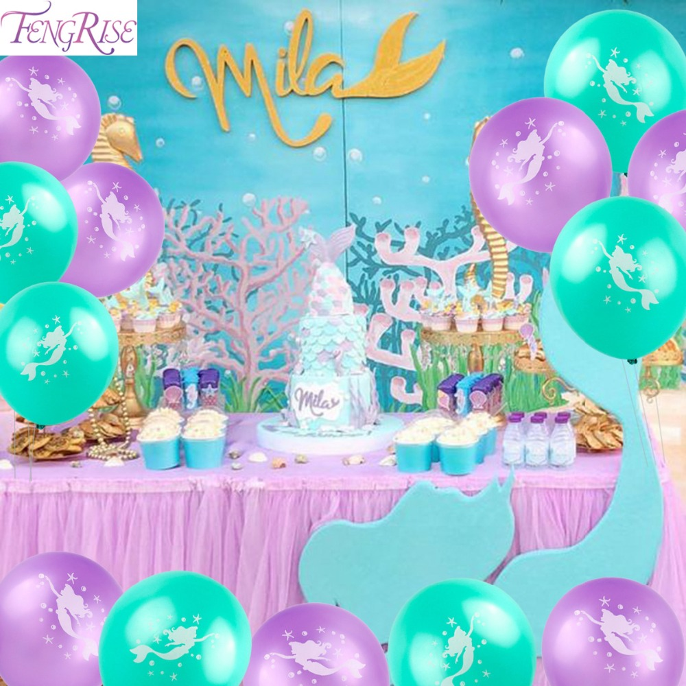 FENGRISE 10pc Mermaid Balloon Little Mermaid Birthday Party Decorations Ballon Mermaid Theme Foil Balloons Cute Baby Kids Favors
