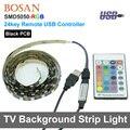 5 V USB LEVOU TV Fundo Iluminação de Tira 5050 RGB 60 LEDs/m Luz de Humor com 24Key Controlador Remoto RF USB 50 cm/1 m/2 m Conjunto