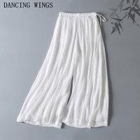 Pantalon Femme Elegant Solid Color Tencel Cotton High Waist Wide Leg Pant Casual Loose Chinese Style Pant Trousers
