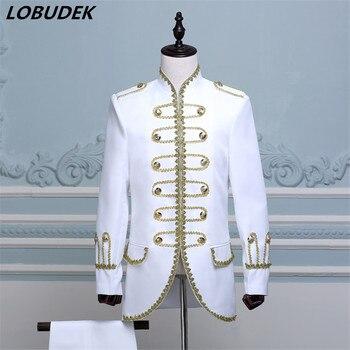 (Jacket+Pants) Blue Black White Red Suit Court Dress Male Dancer Singer Chorus Performance Nightclub Costume Wedding Groom Suits
