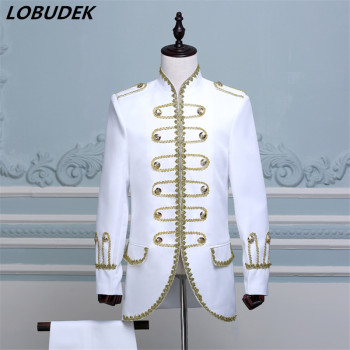 (jacket+pants) blue black white suit male  dancer singer dress performance show nightclub Blazer Outdoors Slim wear groom prom