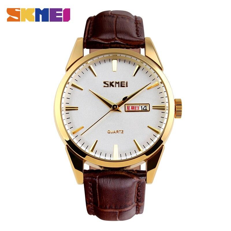 b5383819fda SKMEI Homens Relógio relógios de Pulso de Quartzo Negócio Clássico Pulseira  de Couro À Prova D