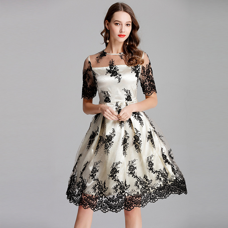 Embroidery Women Dress Plus Size Floral Spring Formal Boho -2998