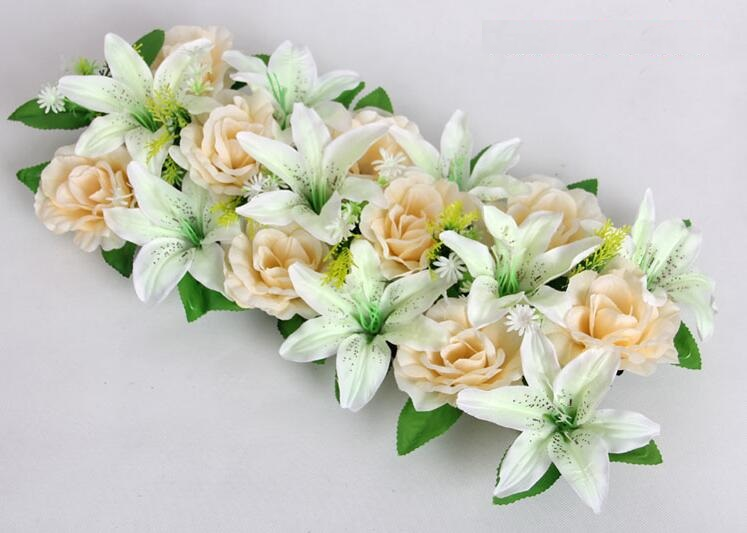 2pcs 18 heads Artificial Silk Champagne Rose &White Lily Arch Frame In a row Decorative Wedding Road Led Flower Wedding Props