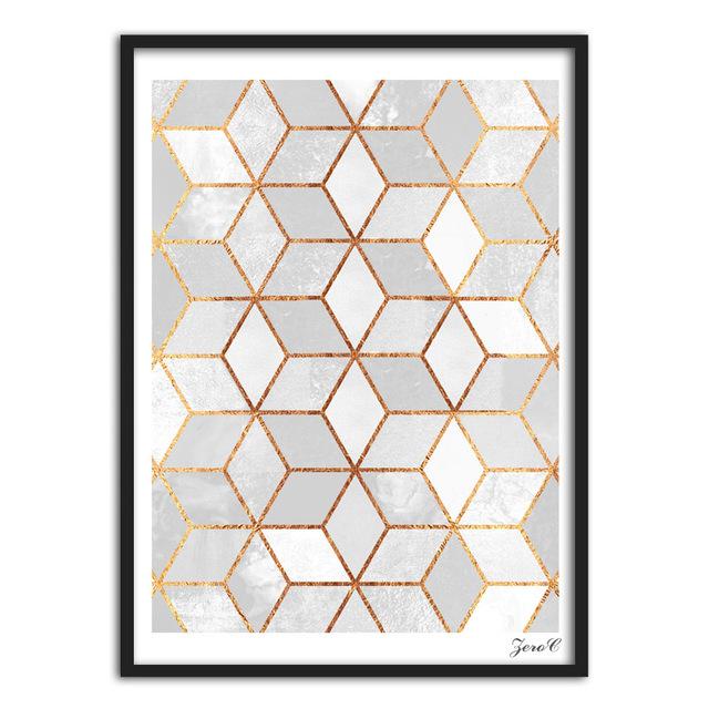 Nordic Geometric Cube Canvas Painting