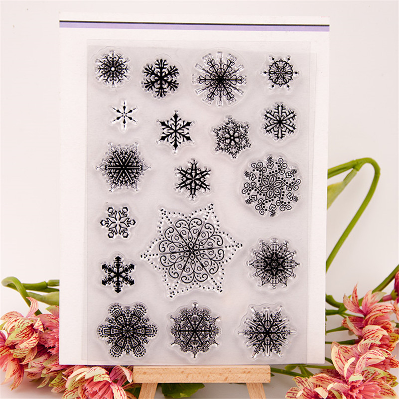 lots of snowflake scenery Transparent Stamp Variety Of Styles Clear Stamp For DIY Scrapbooking Photo Album CC-022 angel and trees clear stamp variety of styles clear stamp for diy scrapbooking photo album wedding gift cl 163