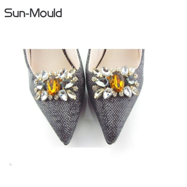 1pair New Arrival Shoes Flower Charms Bridal High Heel Pumps Accessories Crystal Diamond Shoe Clips