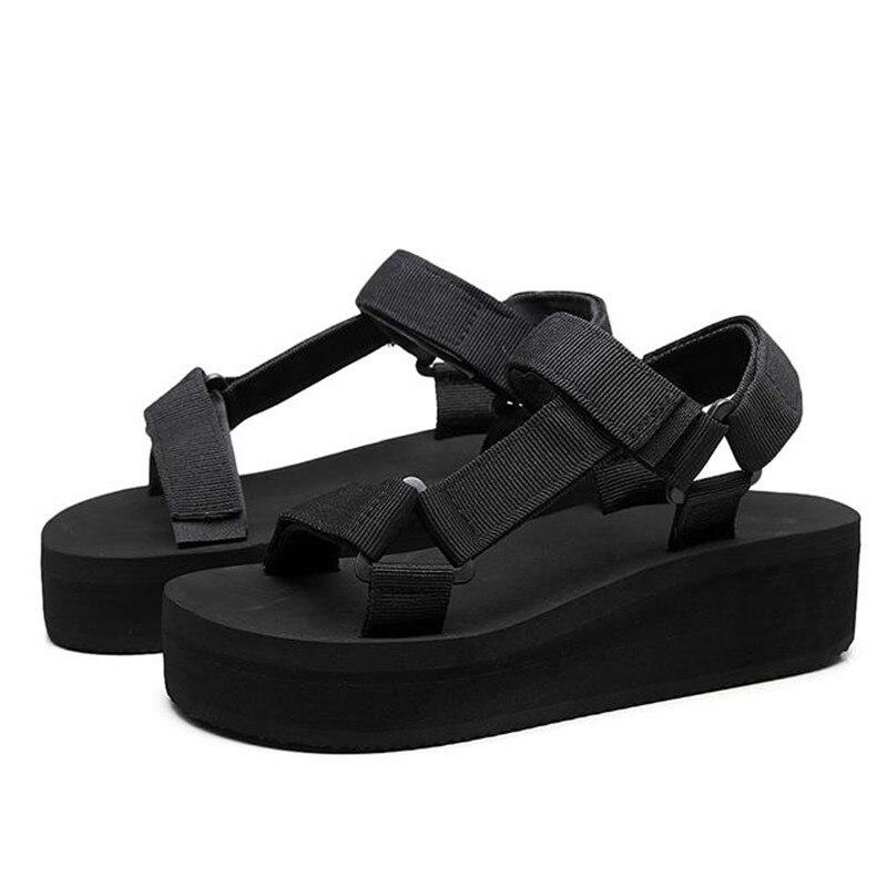 Fashion Women Sandals 2019 New Summer Beach Wedge Trifle Hook Loop Black Platform Sandals ShoeFashion Women Sandals 2019 New Summer Beach Wedge Trifle Hook Loop Black Platform Sandals Shoe